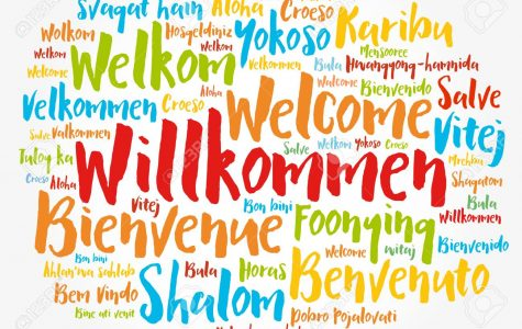 Willkommen, Welcome in German. Word cloud in different languages, conceptual background