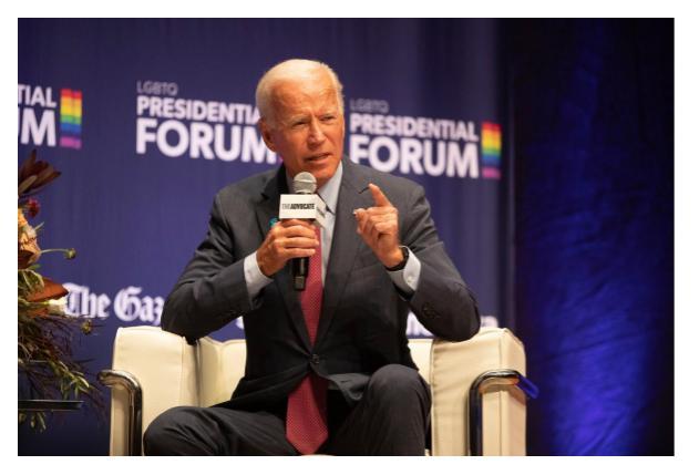 Former Vice President Joseph R. Biden Jr. at the L.G.B.T.Q. Presidential Forum in Cedar Rapids, Iowa. From Daniel Acker for The New York Times